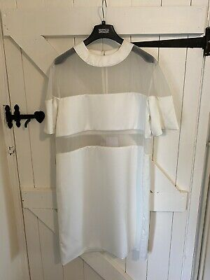 Solace London White Dress With Mesh Panels Size L Short Sleeve Satin