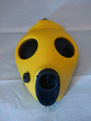 YELLOW Fetish Rubber Blindfold Gas Mask Gummi Bondage respirator black out Hood