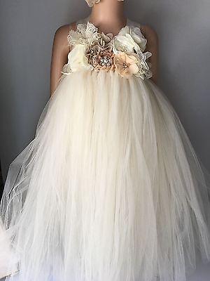 champagne flower girl tutu dress baby tutu dress Wedding photograph Pageant