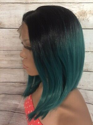 SYNTHETIC LACE FRONT WIG BOB CUT TWO TONE 12