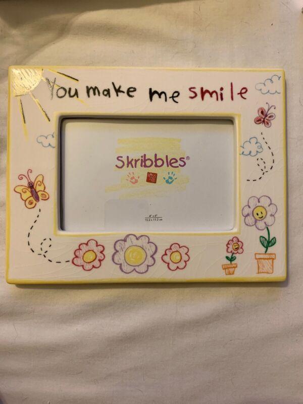 "Picture Frame 4 X 6 SKRIBBLES ""You Make Me Smile"" NEW IN BOX"