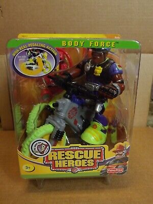 RESCUE HEROES KENNY RIDE BODY FORCE NEW ON CARD 2001 FISHER PRICE