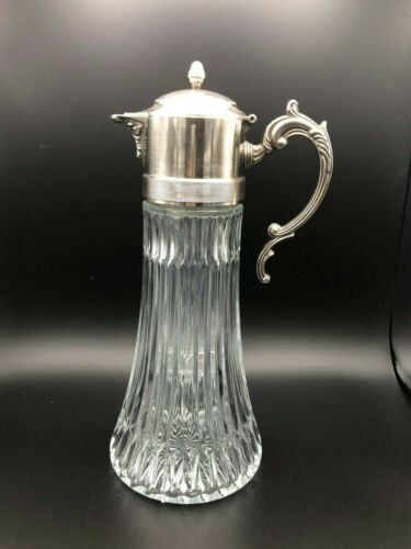 Vintage Glass Carafe Pitcher Decanter with Silver Plated Spout, Made in Italy