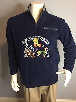LOONEY TUNES Men's 1/4 Zip Pullover Fleece  Navy Bugs Taz Tweety Marvin Small S Tweety Fleece