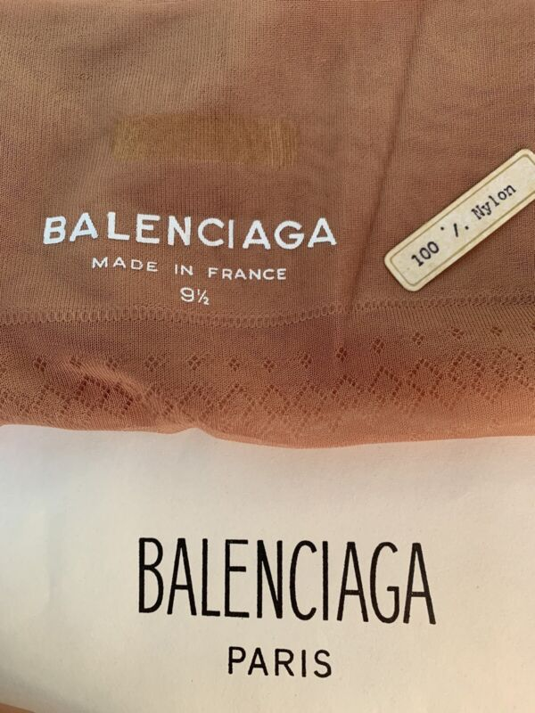 2 PAIR 50s/60s Balenciaga 100% Nylon Stockings Made In France SIZE 9 1/2 Beige
