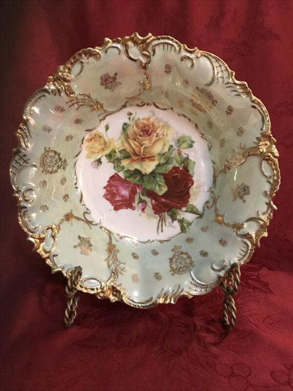 Antique St. Kilian Germany Porcelain Bowl Heavy Gilt Yellow & Red Roses