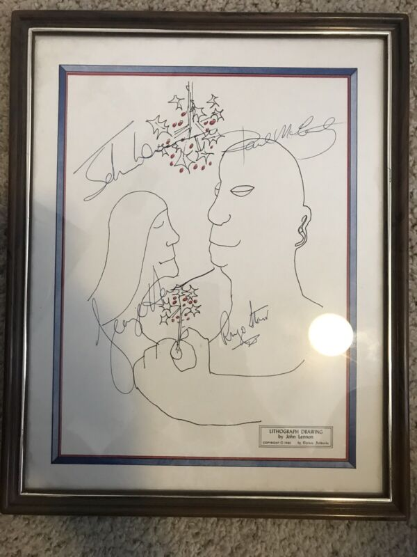John Lennon Lithograph Printed Drawing 15x12 Inch Including Frame RARE ART