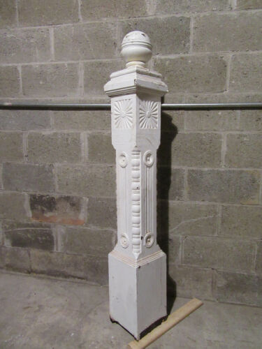 ~ ANTIQUE CARVED OAK NEWEL POST WITH FINIAL ~ 57 TALL ~ ARCHITECTURAL SALVAGE ~