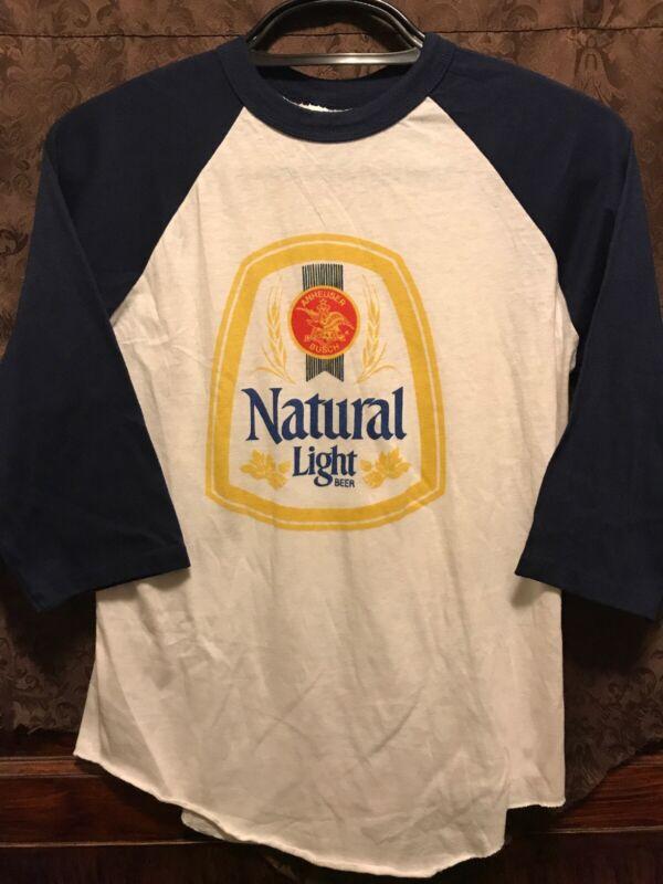 VINTAGE NATURAL LIGHT BEER NATTY ~ Large ~ Baseball Raglan T Shirt USA MADE