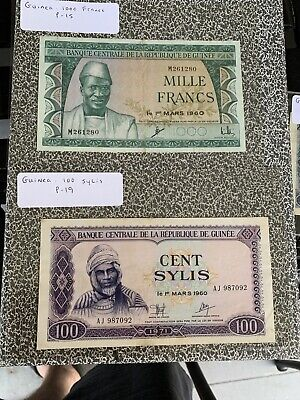 GUINEA 100 100 500 1000 SYLIS L1960 1980 P27 26 19 15 AFRICA GUINEE  VF All 4