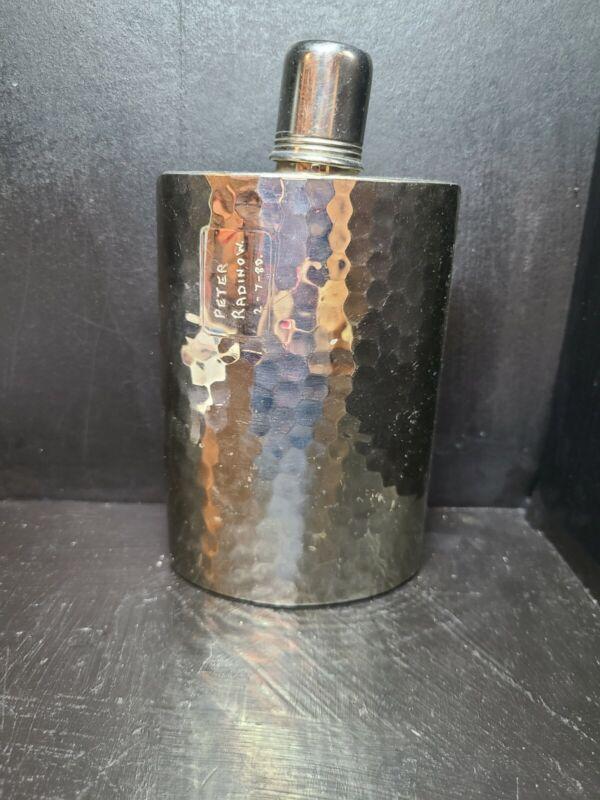 Vintage West German Curved Hip Flask - Tin Lined 10oz