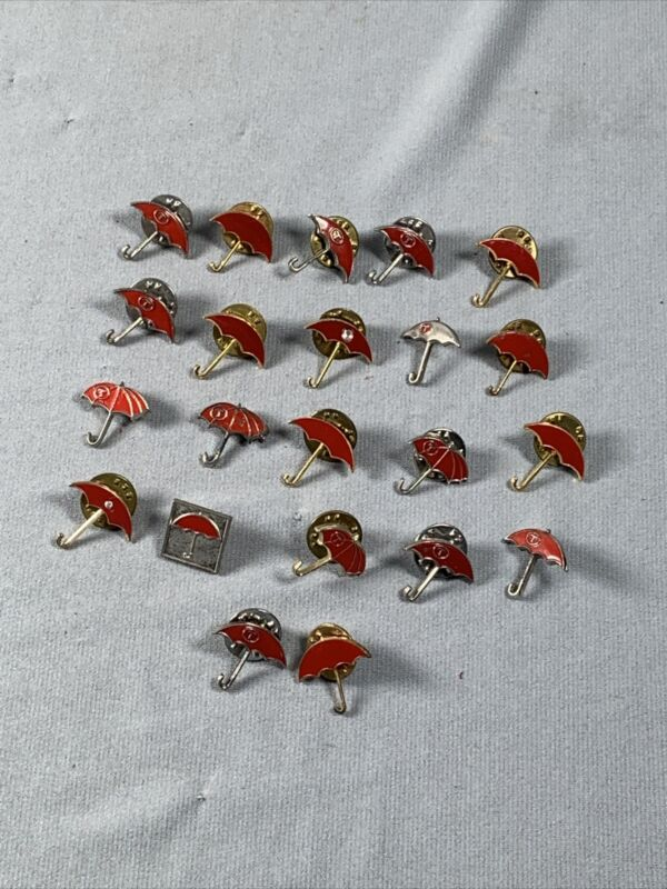 LOT - 22 Vtg Travelers Insurance Umbrella Logo Pins Tie Tacks
