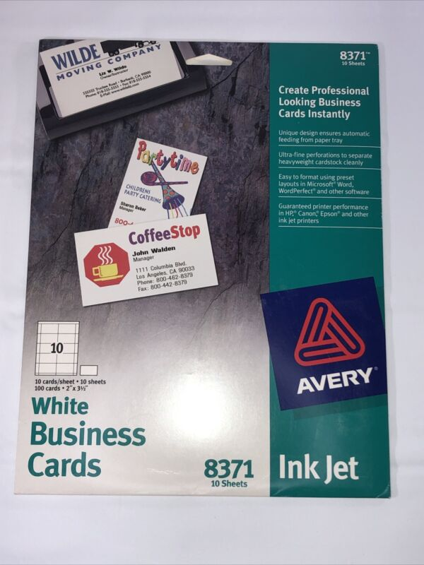 Avery Ink Jet Printer 100 White Business Cards 8371 New Sealed