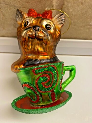 Yorkshire Terrier Yorkie Dog Glass Christmas Ornament teacup glitter