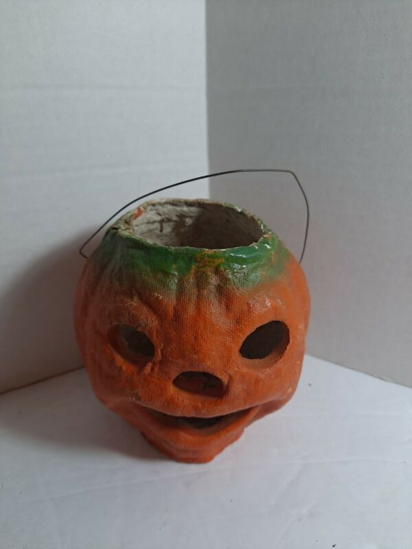 Vintage Small Halloween Paper Mache Jack O
