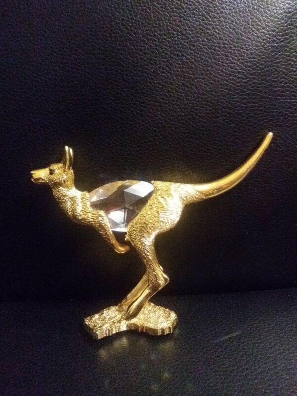 Gold Plated Kangaro Figurine Austrian Crystal. Pewter X-L-R Reg Design.