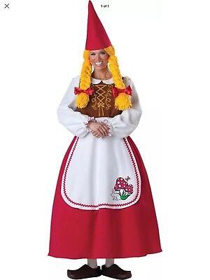 Women's Deluxe Garden Gnome Costume Incharacter Size Large , Halloween Elf](Womens Gnome Costume)