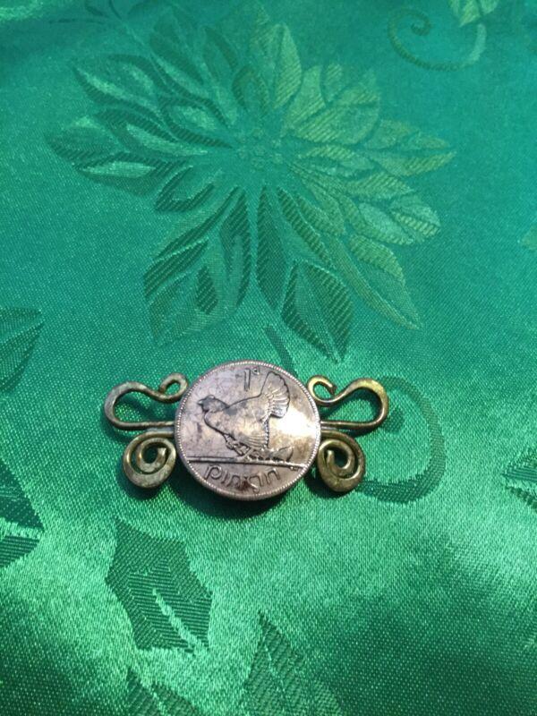 Irish Pinon Coin Pin/brooch, Vintage Irish Luck!