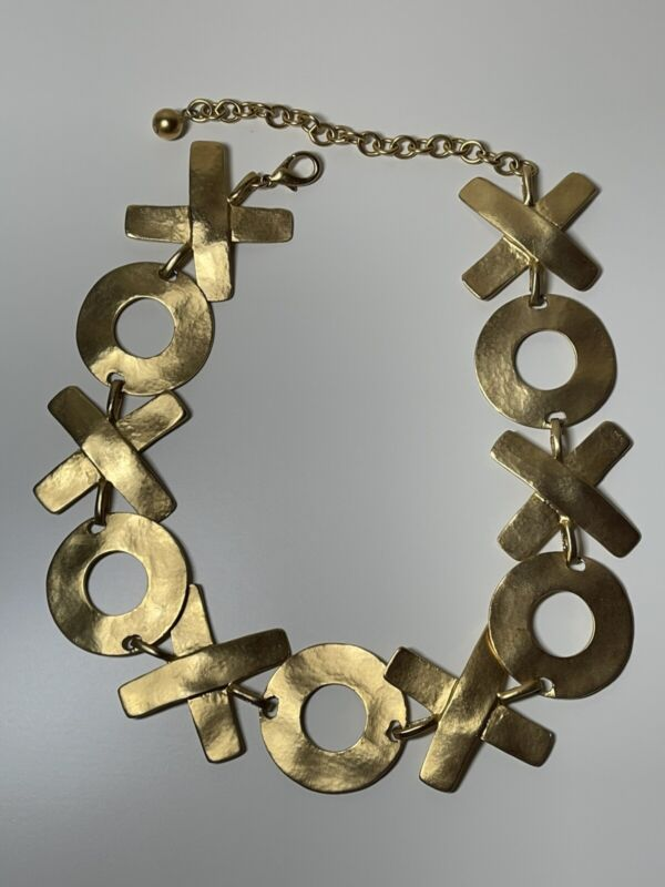 Vintage Unsigned Hugs & Kisses XOXO Brushed Matte Gold Tone Statement Necklace