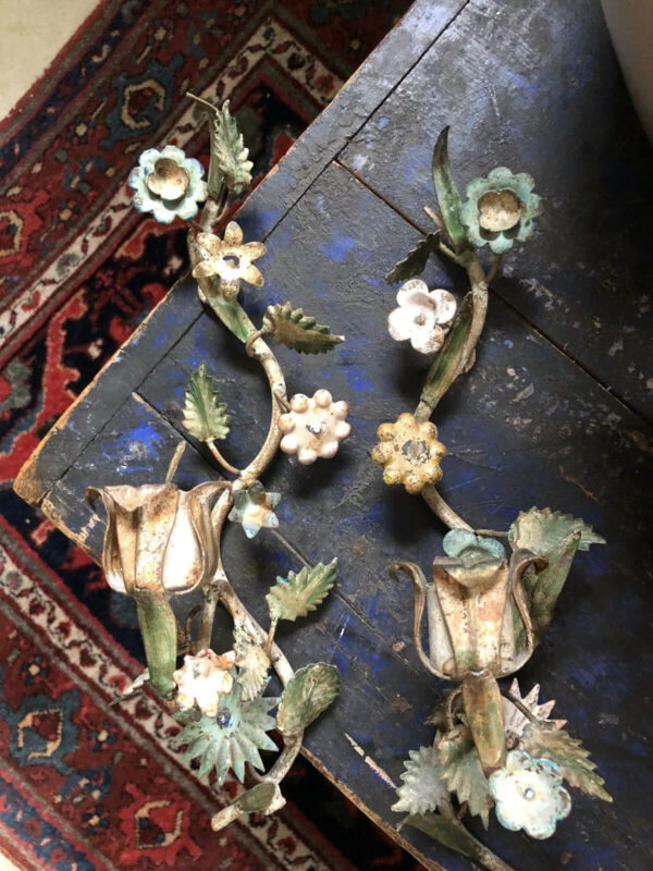 Beautiful Antique Early Painted Tole Hanging Candle Holders!!