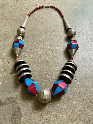 1930s Art Deco Style Jewelry INCREDIBLE 1930s Machine Age CHROME galalith lucite bead necklace Bengel RARE $112.18 AT vintagedancer.com