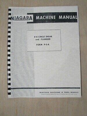 Niagara 8-8 Circle Shear Flanger Instruction Parts Manual