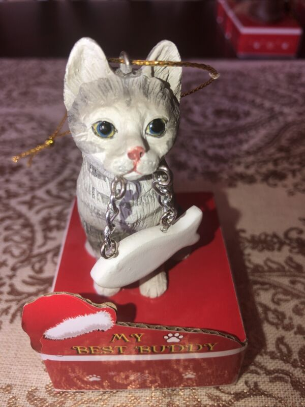 Silver Tabby Grey Cat  Christmas Ornament, Personalize, New