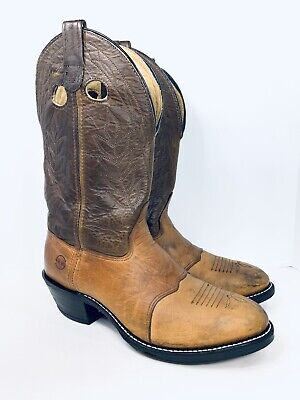 Vtg Double H Brown Leather Pull On Cowboy Western Work Boots Mens Size 11 D