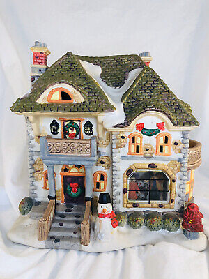 """Ceramic """"Victorian house"""" Village Light-Up Building with snow and snowman 3D"""