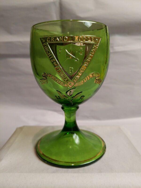 1900 Knights of Pythias Grand Lodge U-R Rochester Green Glass Goblet