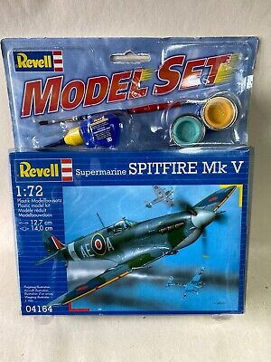 Revell 04164 Supermarine Spitfire Mk V Model Kit With Paints Glue And Brush