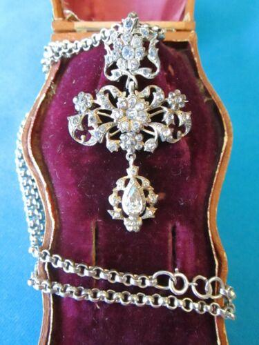 Antique Georgian Victorian Sterling Silver Cross Paste Brooch Pendant Necklace