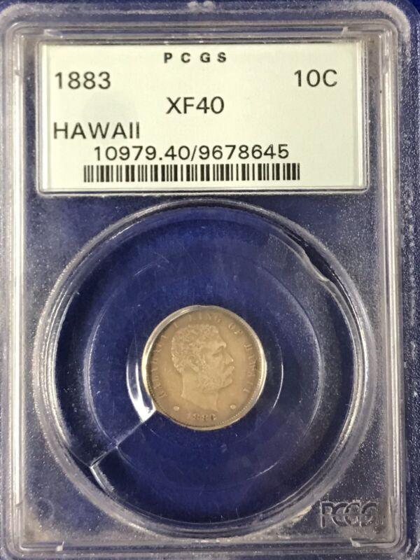 1883 hawaii dime PCGS XF40 Older Green Label Original Coin Ten Cent