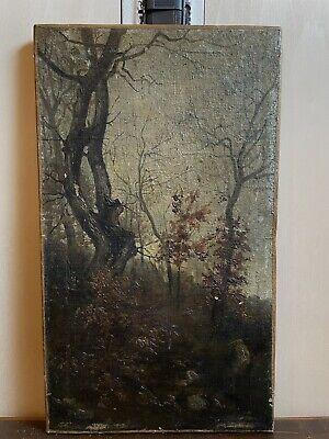 Dipinto Olio Su Tela Antico Paesaggio