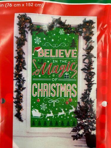 "Christmas sayings winter door cover 30"" x 60"" party decor Believe"
