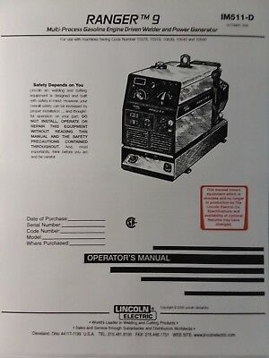 Lincoln Ranger 9 Welder Generator Kohler Ch20 Engine Operators 2 Manual S