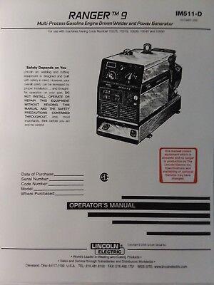 Lincoln Ranger 9 Welder Generator Kohler Ch20 Engine Operators 2 Manual S