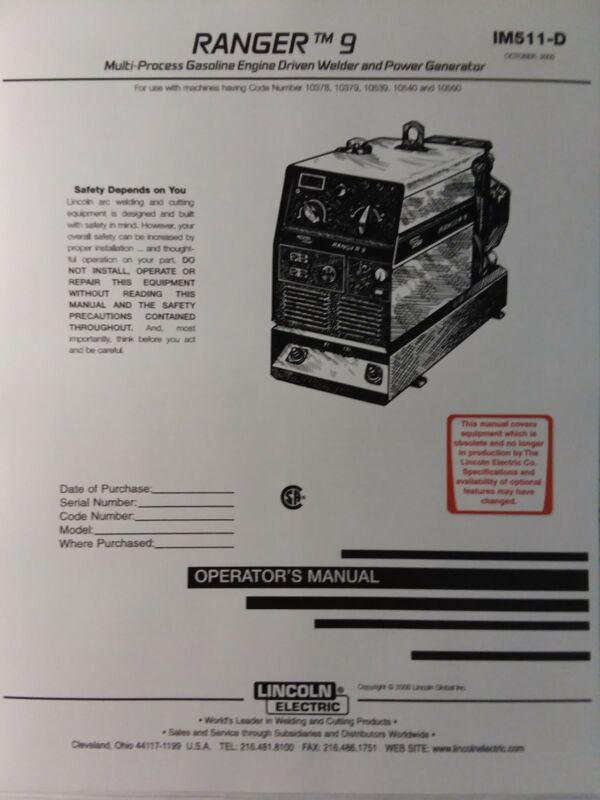Lincoln Ranger 9 Welder Generator & Kohler CH20 Engine Operator