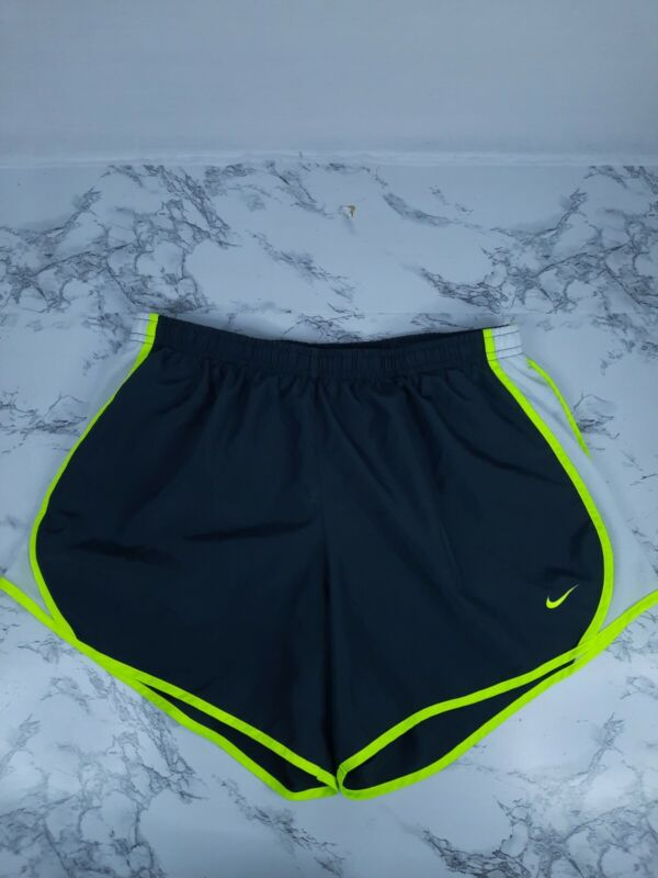 NIKE Girls Youth Extra Large Dri-Fit Running Shorts Lined Gray With Neon Green
