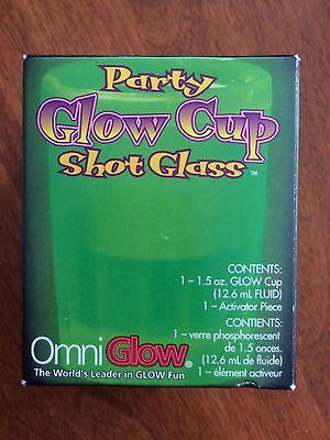 Six (6) Party Glow Cup Shot Glass - Glows in the Dark - OmniGlow Green Red Glow Shot Glass