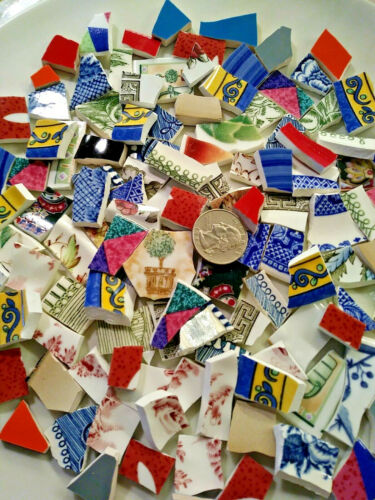 """"""" BITS & PIECES  """"  120 Broken CHINA PLATE MOSAIC TILES Shards Fill Multicolor"""