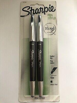 Sharpie Pen Stylo No Bleed Comfort Grip Fine Tip - Black Ink 2 Pack