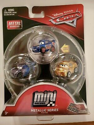 Disney Pixar Cars 2018 Mini Racers 3 Pack Metallic Series Mattel,