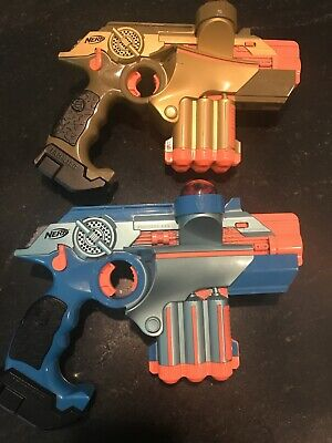 Nerf Phoenix LTX Lazer Tag Guns Game Gold & Blue Lot of 2
