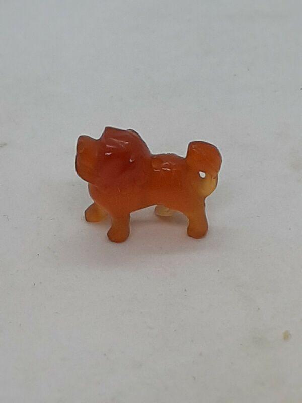 Antique Qing Dynasty 19th C Carved Carnelian Lion Foo Dog Bead Figurine Amulet