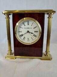Howard Miller Brass Mantle Clock Wood Grain Table Desk 645-104 Works - Free Ship