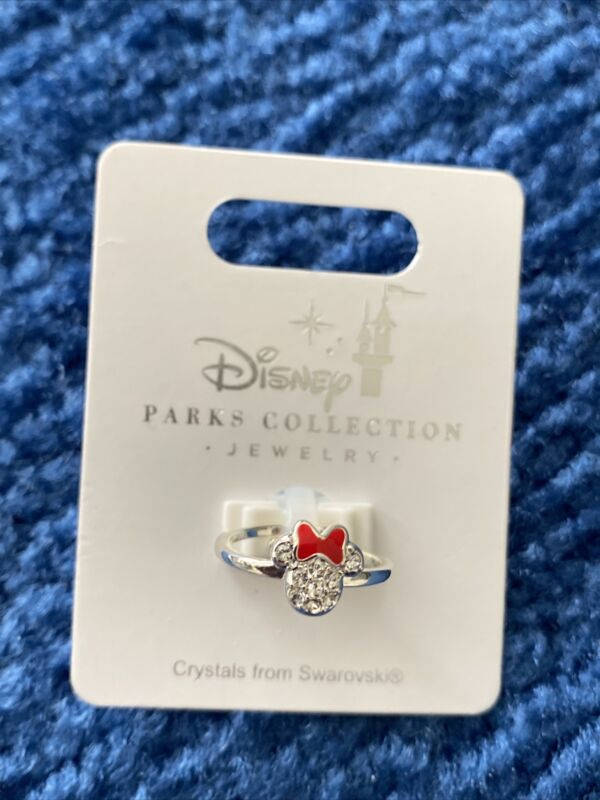 Disney Parks Collection Minnie Mouse Icon Adjustable Ring Swarovski Crystals New