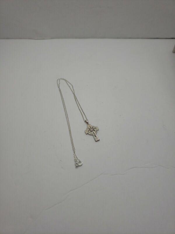"Vintage Sterling Silver signed SD Celtic Cross Pendant 18"" Necklace 3.5 grams"