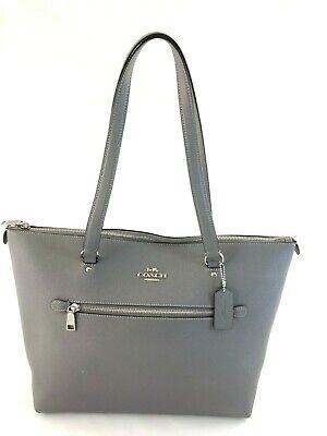New Authentic Coach F79608 Gallery Tote Leather Handbag Shoulder Bag Purse Grey