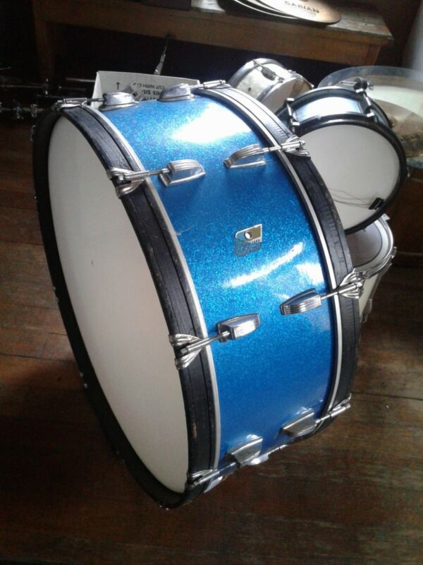 "Ludwig  blue &olive 28 x 10"" Marching Bass Drum Blue Sparkle RARE!"